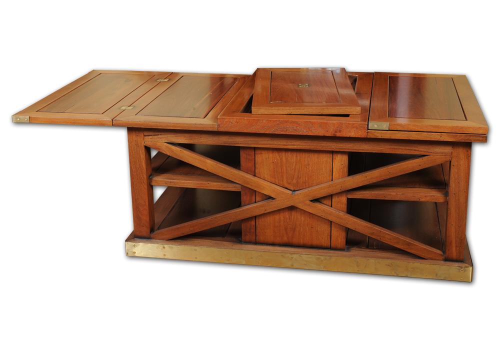 Table basse bar merisier for Meuble bar merisier